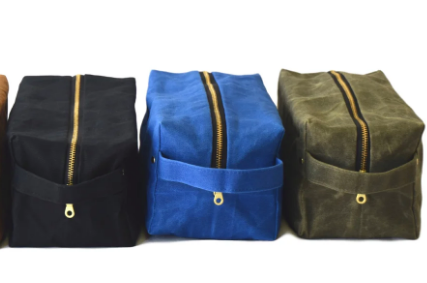 Waxed Repurposed Canvas Cosmetic / Dopp Toiletry Bag- Cobalt, Black, Olive & Hot Pink- Saves Landfill Space