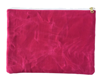 Waxed Organic Repurposed Canvas Clutch Bag- Cobalt, Black, Olive & Hot Pink- Saves Landfill Space