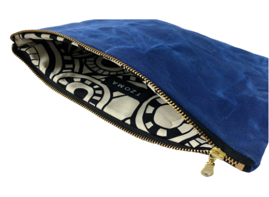 Waxed Organic Repurposed Canvas Clutch Bag- Cobalt, Black, Olive & Hot Pink- Saves Landfill Space - Give Back Goods