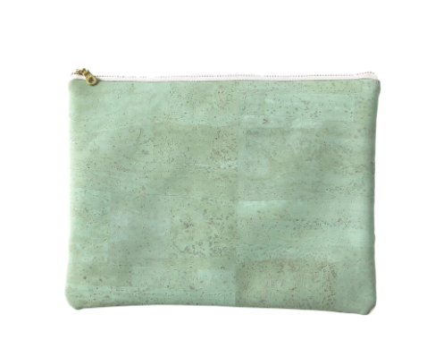 Natural Cork Clutch Bag- Grey, Cobalt, Natural, Mint Green, Pink- Saves Landfill Space - Give Back Goods