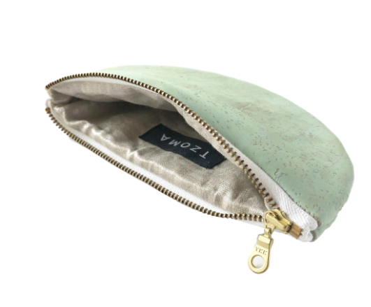 Cork Half-Moon Pouch - Grey, Cobalt, Natural, Mint Green, Pink, Black-Vegan - Give Back Goods