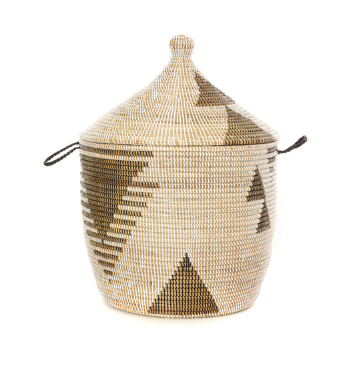 Black & White Tribal Decorative Storage Basket- Fair Trade-Eco-Friendly - Give Back Goods