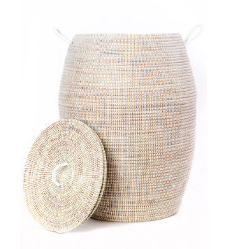 Tall White Bongo Hamper Laundry Storage Basket- Fair Trade-Eco-Friendly- Handmade - Give Back Goods