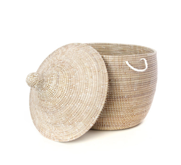 Short Hamper Decorative Handwoven Storage Basket, Fair Trade - Give Back Goods