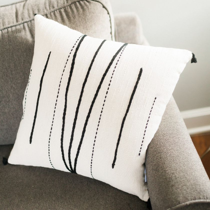 "18"" x 18"" Hand Woven & Embroidered Cotton Tunisian Pillow, Eco-Friendly, Fair Trade - Give Back Goods"