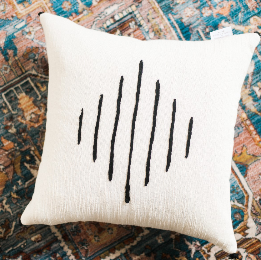 "18"" x 18"" Tunisian Pillow, Hand Woven & Embroidered Cotton, Eco-Friendly, Fair Trade - Give Back Goods"