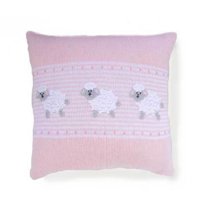 "Baby Sheep Pillow (Blue & Pink), 14"" x14"", Hand embroidered, Fair Trade"