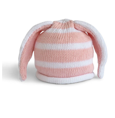 Handmade Knit Striped Pink Baby/ Toddler Bunny Ear Hat - Fair Trade