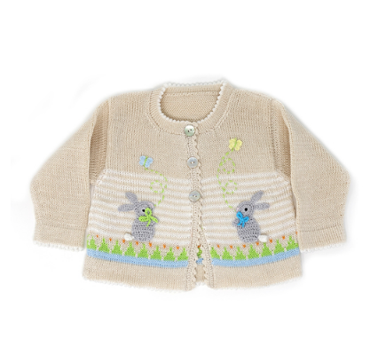 Handmade Knit Baby/ Toddler Easter Bunny Cardigan, Fair Trade - Give Back Goods