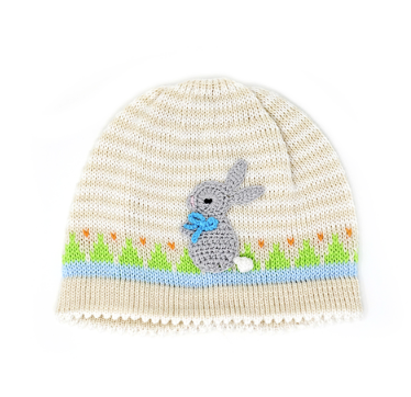Hand Knit 12 Month Easter Hat With Bunnies, Fair Trade