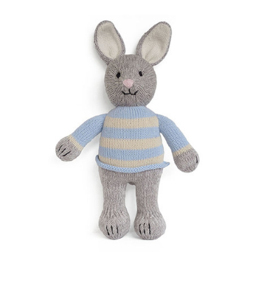 Hand Knit Bo The Bunny Stuffed animal, Fair Trade - Give Back Goods