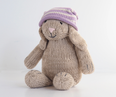Hand Knit Sitting Bunny Stuffed animal - Support Fair Trade for Artisans