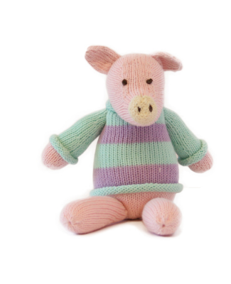 Hand Knit Pinky Pig Stuffed Animal - Support Fair Trade for Artisans