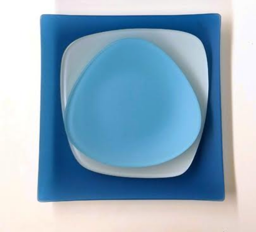 SeaGlass Dishes Place setting, Recycled Glass, Made in USA, Lead & Cadmium Free - Give Back Goods