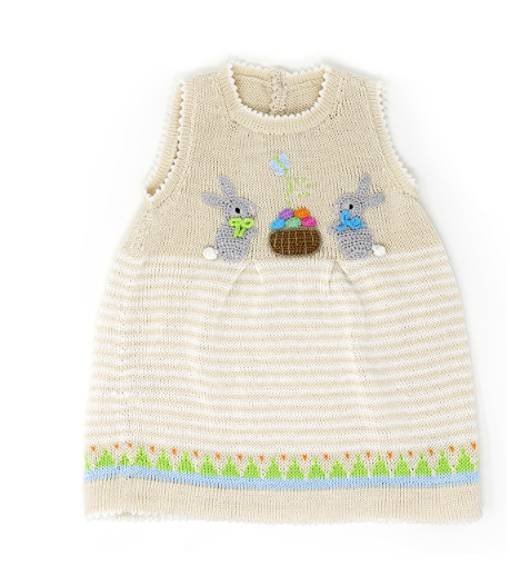 Hand Knit Baby / Toddler Easter Dress With Bunnies, Fair Trade - Give Back Goods