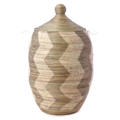 Extra Large Handwoven Silver & White Zig Zag Hamper Storage Basket, Fair Trade - Give Back Goods