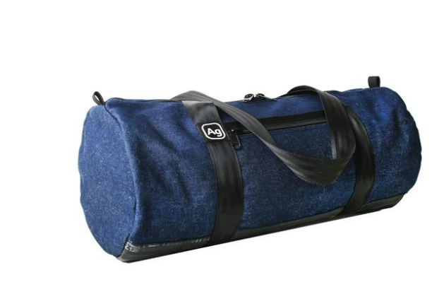 Repurposed denim duffle bag- Made in the USA from upcycled Denim & Bicycle inner tubes- Saves Landfill Space! - Give Back Goods