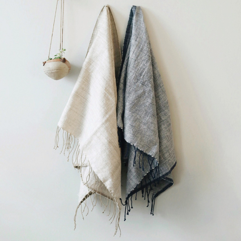 2 Hand Woven Petra Ethiopian Cotton Hand Towels- Eco-Friendly, Fair Trade - Give Back Goods