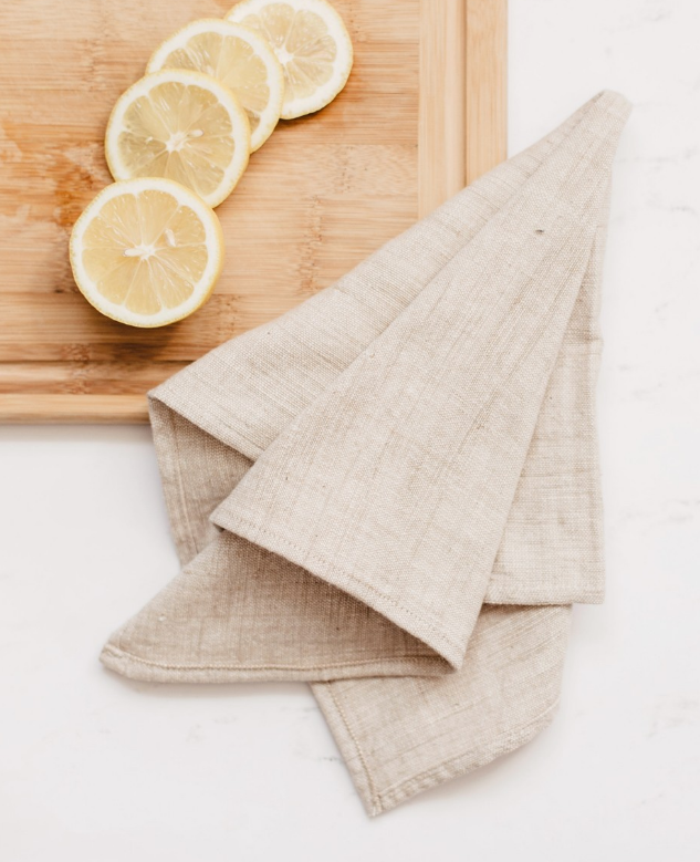 Set of 4 Hand Woven Ethiopian Cotton Petra Dinner Napkins- Navy or Beige, Eco-Friendly, Fair Trade - Give Back Goods
