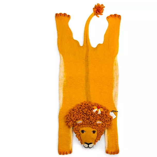 Lion Kids Rug- Supports Fair trade Artisans in Nepal - Give Back Goods