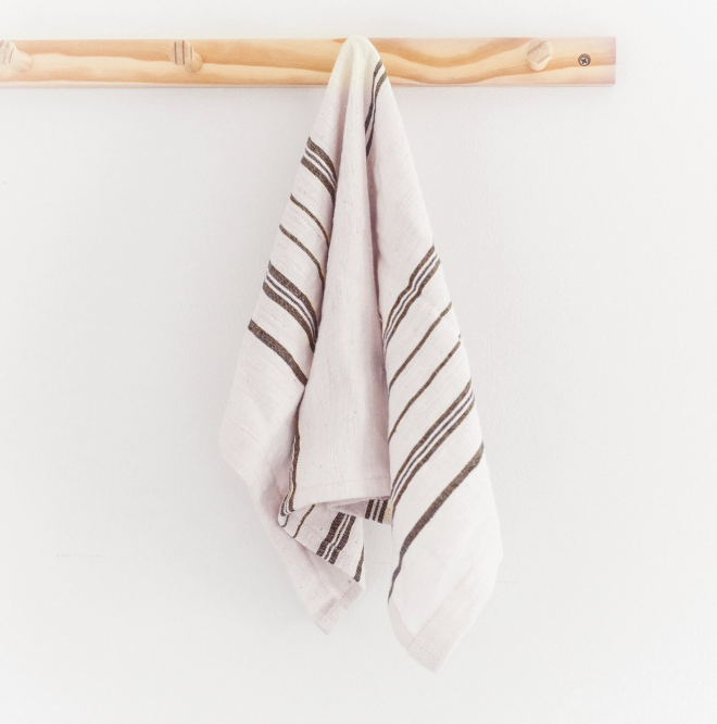 2 Hand Woven Striped Tea Towels, (3 colors), Ethiopian Cotton, Eco-Friendly, Fair Trade - Give Back Goods