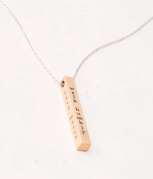 Act Justly, Love Mercy & Walk Humbly Bar Necklace (Silver, Gold) gives jobs for girls & women! - Give Back Goods
