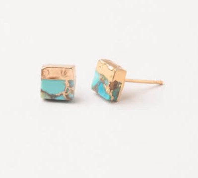 Turquoise Howlite Stud Earrings, Give freedom & create careers for exploited girls & women! - Give Back Goods