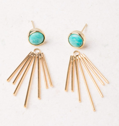 Turquoise Fringe Stud Earrings, Give freedom & create careers for exploited girls & women!