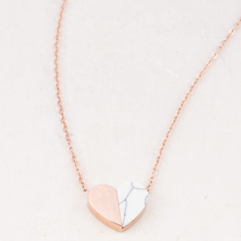 Rose Gold & White Howlite Heart Pendant Necklace, Give freedom & create careers for exploited girls & women!