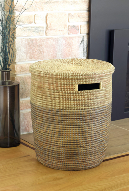 Handwoven Hamper Laundry Storage Basket in many colors, Fair Trade - Give Back Goods