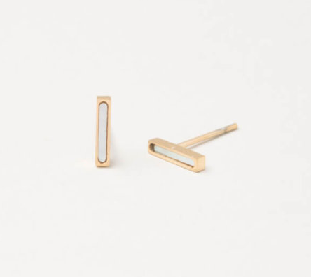 Gold Bar & Mother of Pearl Stud Earrings, Give freedom & create careers for exploited girls & women! - Give Back Goods