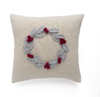10x10 -Hand Knit Christmas Pillow with Grey Wreath & Red Berries, Fair Trade, Creates Jobs