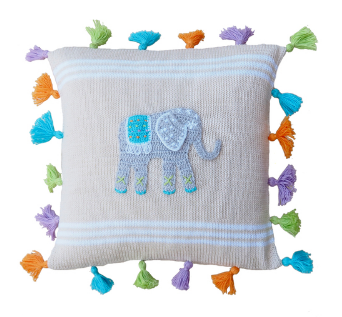 Elephant Tassel Baby Pillow, Handmade, Fair Trade