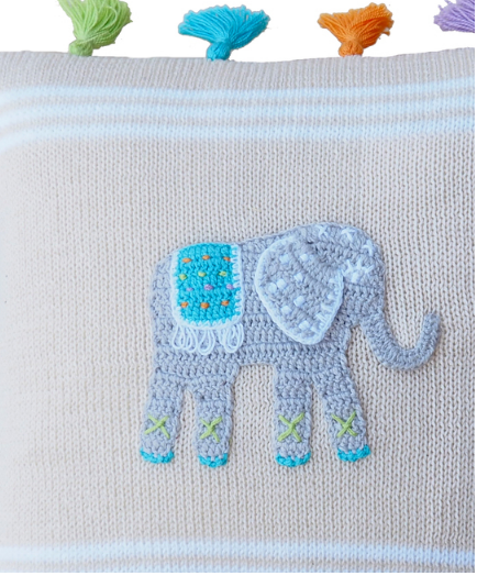 Elephant Tassel Baby Pillow, Handmade, Fair Trade - Give Back Goods