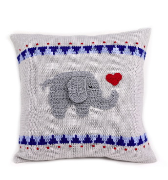 Elephant with Heart Baby Pillow, Handmade, Supports Fair Trade Artisans