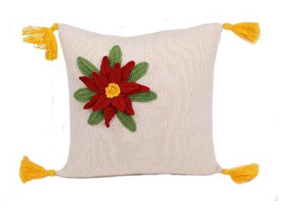 10 x 10 Hand Knit Pointsettia Holiday Christmas Pillow, Supports Fair Trade Artisans