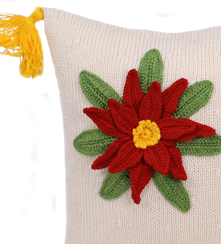 Hand Knit Poinsettia Holiday Christmas Pillow, Supports Fair Trade Artisans - Give Back Goods