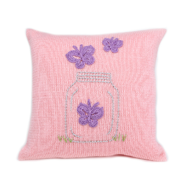 Hand Knit Pink Baby & Kids Pillow with Purple Butterflies, Fair Trade