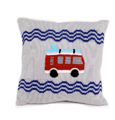 Red Van & Surfboard Grey Baby Pillow, Supports Fair Trade for Artisans