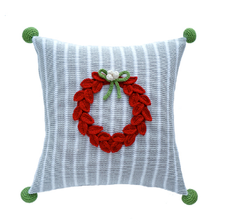Hand Knit Christmas Pillow with Red Wreath, Grey Stripes, Fair Trade - Give Back Goods