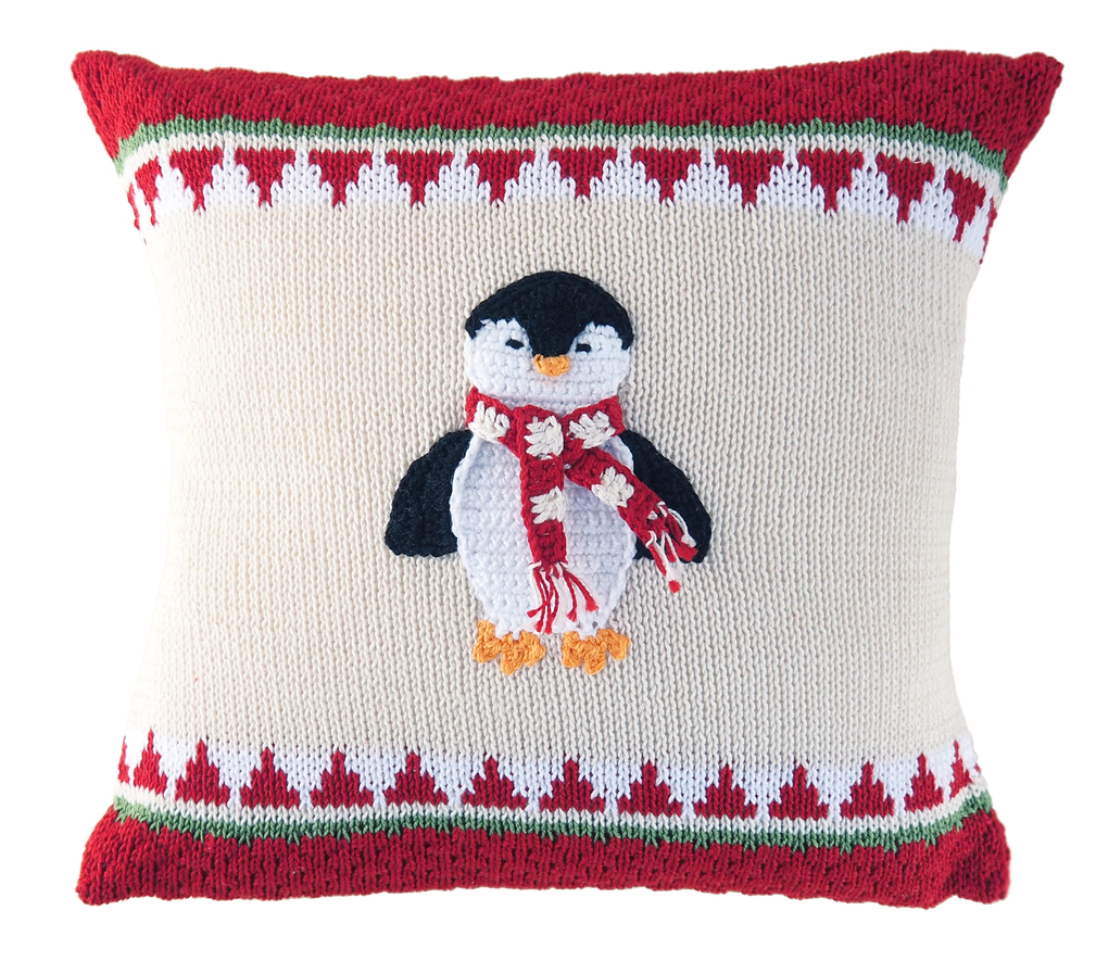 Hand Knit Penguin Christmas Pillow,  Fair Trade, Supports women artisans - Give Back Goods