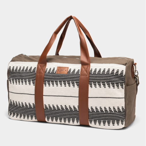 Weekender Olive & White Duffle Bag - Helps Break the Cycle of Poverty! - Vegan - Give Back Goods