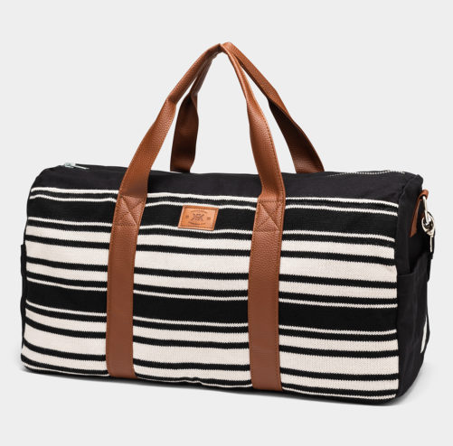 "Black & White Stripe Duffle Bag - Help Break the Cycle of Poverty! - Vegan ""leather"" - Give Back Goods"