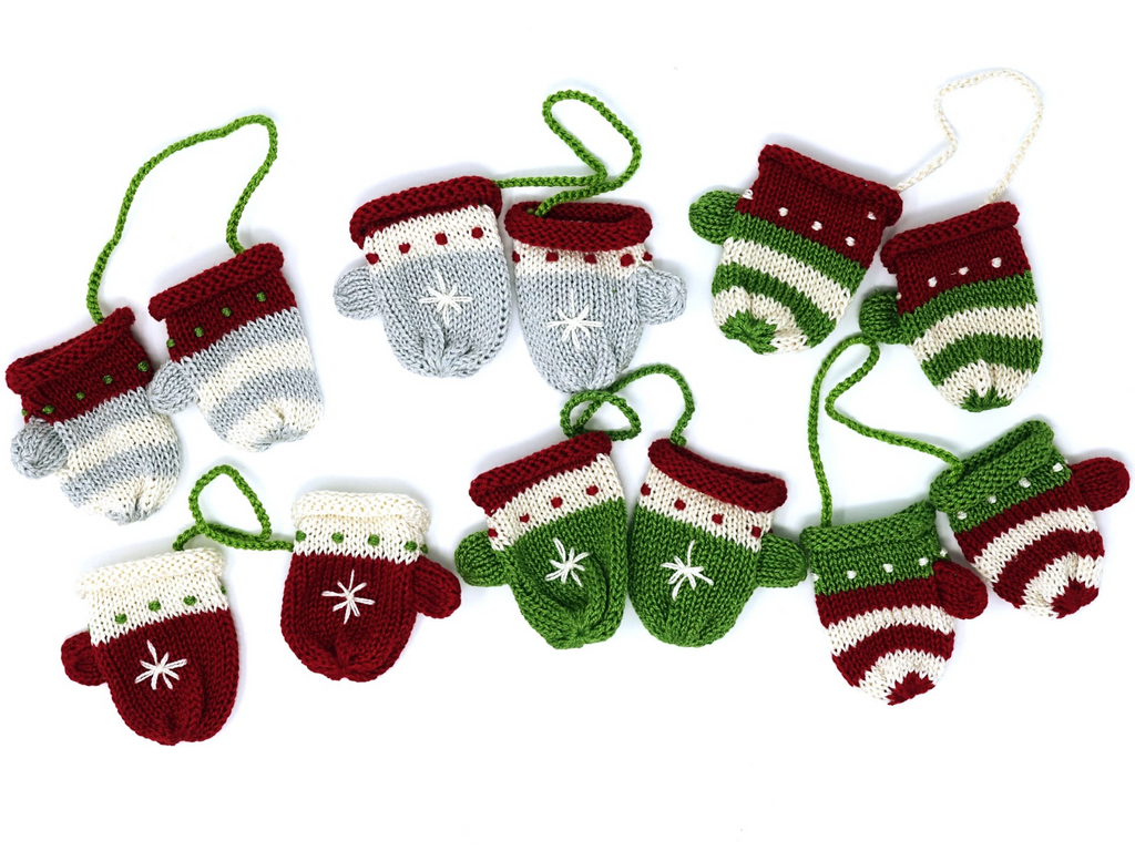 Set of 6 Hand knit Tiny Mitten Ornaments, Fair Trade - Give Back Goods