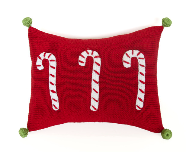 Mini Candy Cane Christmas Pillow, with Pom Poms, Fair Trade - Give Back Goods