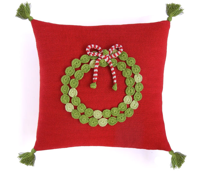 14x14 Hand Knit Red Christmas Pillow with Green Wreath, hand-embroidered, Fair Trade - Give Back Goods