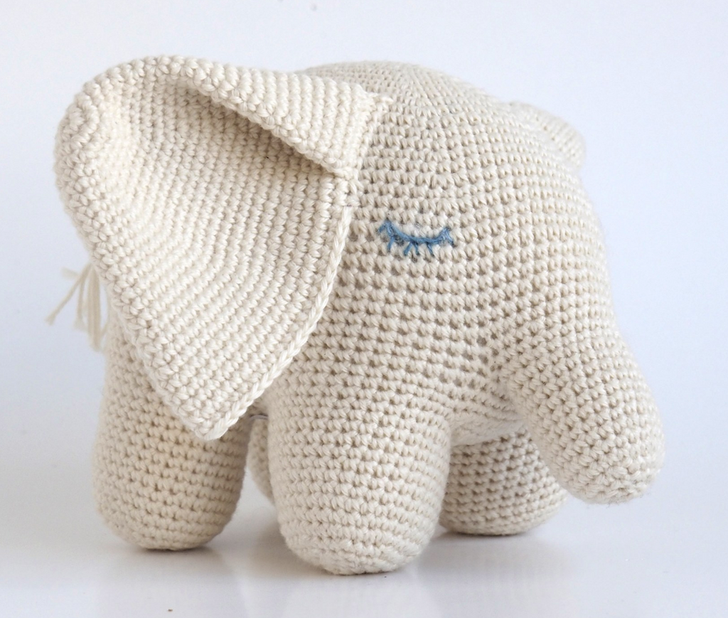 Organic Cotton Hand Knit Large Elephant, Support Fair Trade Artisans - Give Back Goods