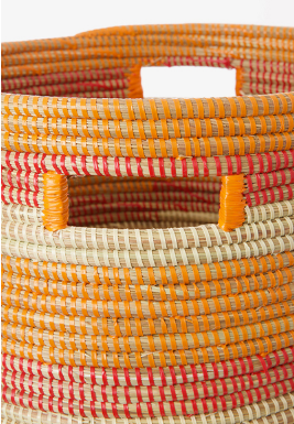 Handwoven, Orange, Red & Cream Hamper Laundry Storage Basket, Fair Trade - Give Back Goods