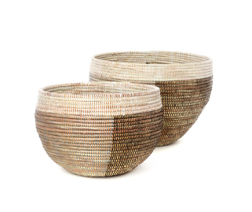 Set of Two Handmade Nesting Baskets (White,Brown, Silver) Fair Trade - Give Back Goods
