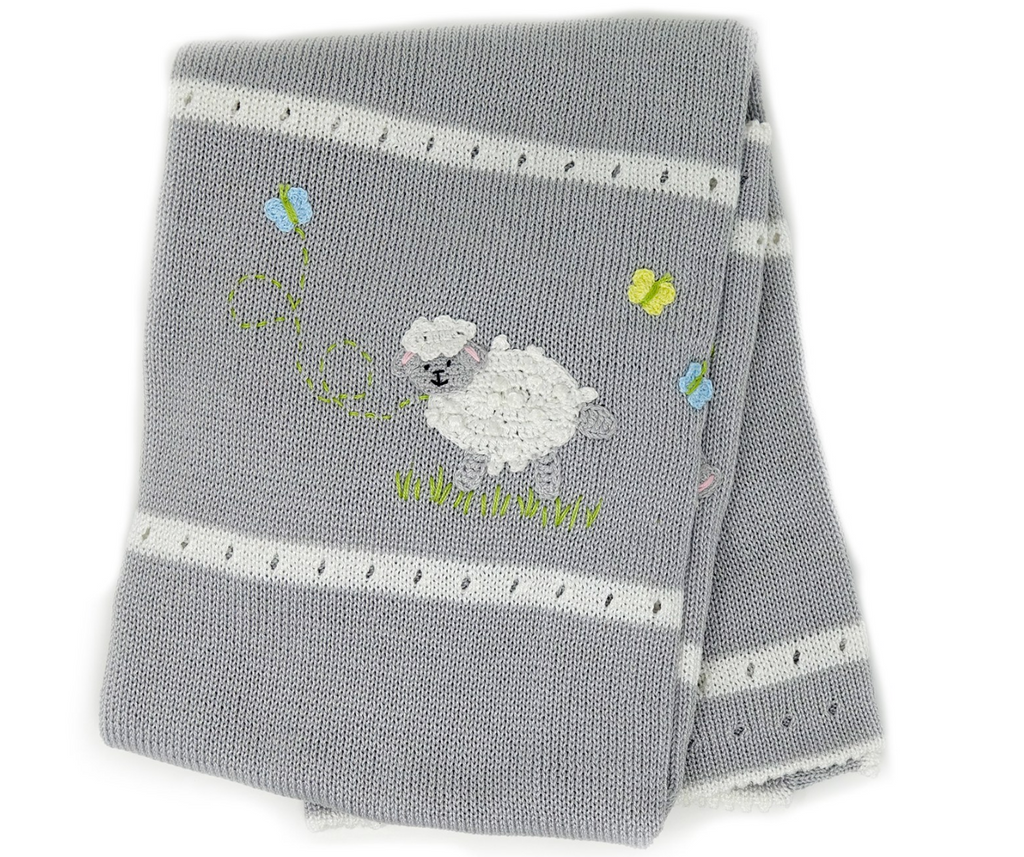 Hand-Knit Baby Blanket with Sheep, Fair Trade - Give Back Goods